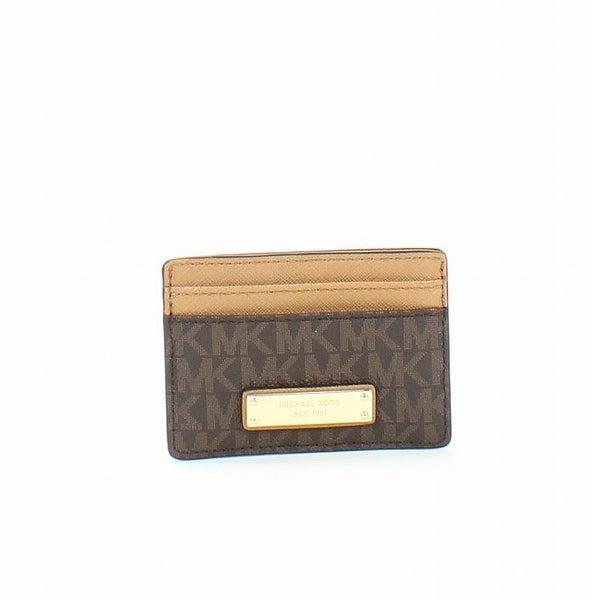 710a15fb804 Shop Michael Kors NEW Brown Money Pieces Signature PVC Card Holder ...