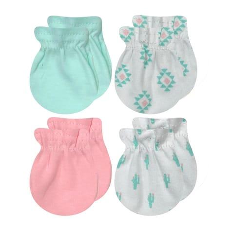 BABY KISS Newborn Mittens For Baby Girls & Baby Boys 4 Pack 0-3 Months Infant No Scratch Mitten Gloves 100% Cotton