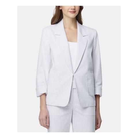 TAHARI Womens Light Blue Striped Wear to Work Jacket Size 4
