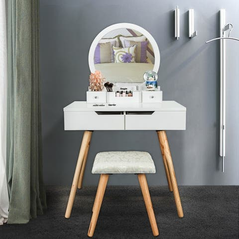 """31"""" Cutey Bedroom Dressing Table Makeup Vanity Table with Stool Set"""
