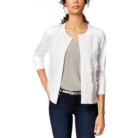 Charter Club Women's Floral-Applique Cardigan White Size Extra Large - X-Large