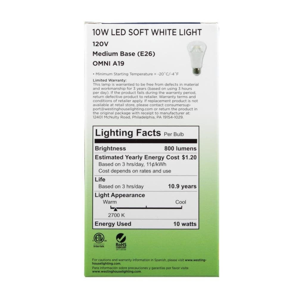 Replaces 60W A19 Soft White LED Light Bulb with Medium Base Westinghouse Lighting 0513900 10W