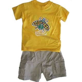 "Timber Baby Boys Yellow Khaki ""Bug Off"" Print Tee Cargo Pants 2 Pc Set 12M-24M"