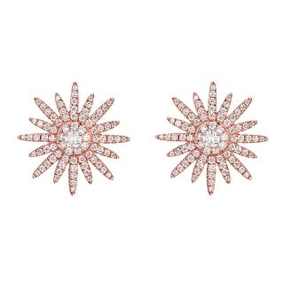 Prism Jewel 0.80CT G-H/SI1 Natural Round Diamond Designer Puch Back Starburst Earring - White G-H