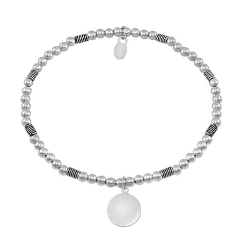 Handmade Balinese Disc Symbol Elastic Bead Ball Sterling Silver Bracelet (Thailand)