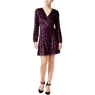 Betsey Johnson Womens Wrap Dress Mesh Sleeves Wrap