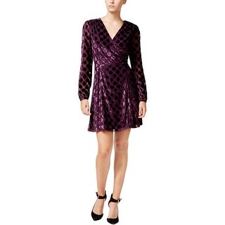 Betsey Johnson Womens Wrap Dress Mesh Sleeves Suede