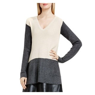 Vince Camuto Womens V-Neck Sweater Waffle Knit Colorblock
