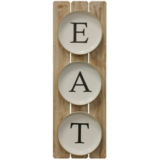 """StyleCraft SC-WI52449  35 3/8"""" x 11 7/8"""" - """"Eat Plates"""" Iron and Wood Text and Symbols Wall Sculpture - Black and White"""