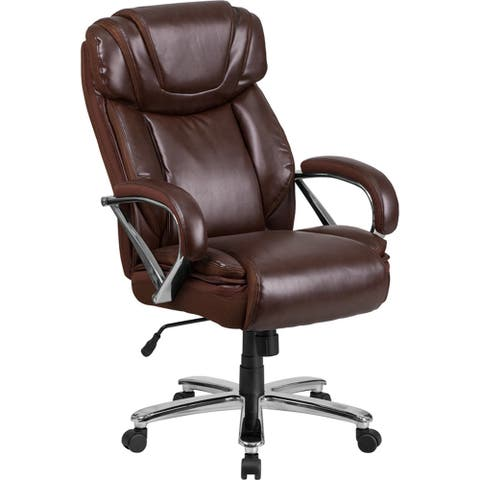 Aberdeen Big & Tall Brown Leather Executive Swivel Chair w/Extra Wide Seat