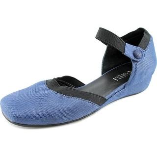 Vaneli Grania Women Square Toe Suede Blue Flats