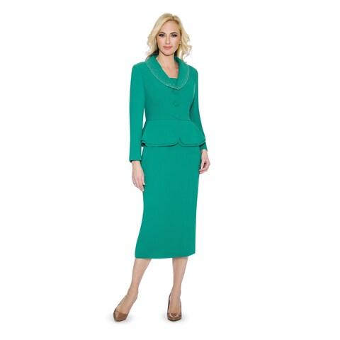 Giovanna Signature Women's Washable 2-piece Peplum Embellished Skirt Suit