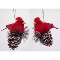 "Pack of 8 Country Rustic Cardinal on Pine Cone Ornaments 6"" - brown"