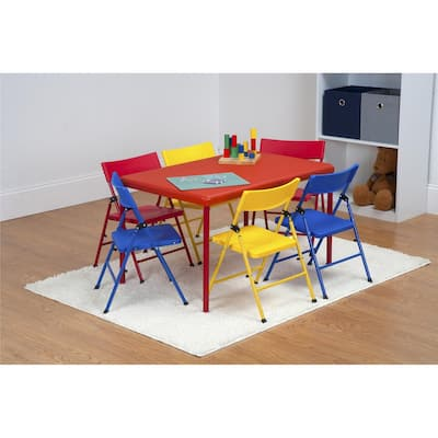 Safety First 7 Piece Children's Juvenile Set with Pinch Free Folding Chairs and Screw in Leg Table