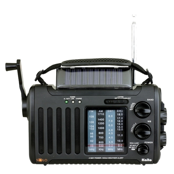 4-Way Powered Emergency Weather Alert Radio With Cell Phone Charger - Black