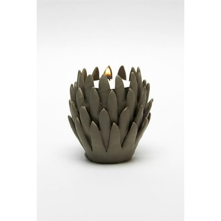 """Design Toscano  Kosa 3"""" Brown Hand-Crafted Ceramic Candleholder: Set of Two"""