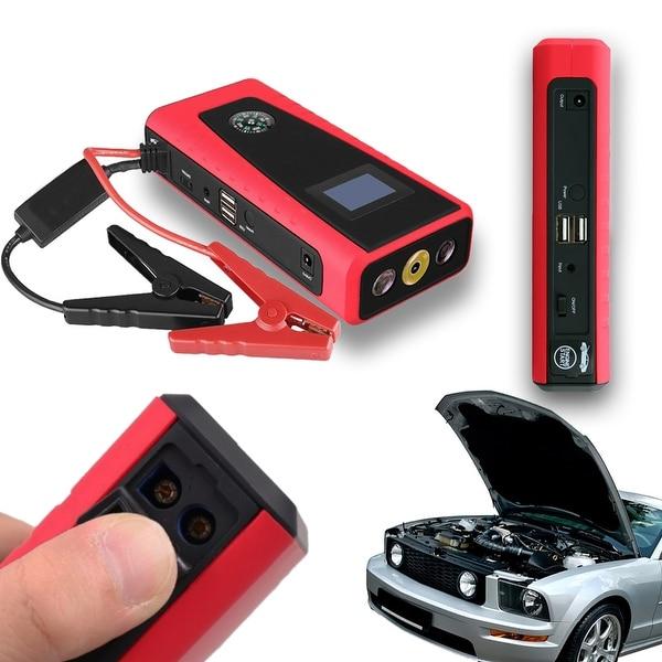 Indigi® High Capacity Power Bank & Universal Auto Jump Starter - 12000mAh - SmartPhones + Laptops - black | red