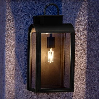 "Luxury Art Deco Outdoor Wall Light, 21""H x 10.5""W, with Farmhouse Style Elements, Oil Rubbed Bronze Finish by Urban Ambiance"