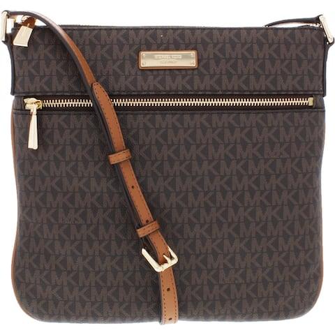 MICHAEL Michael Kors Jet Set Women's Coated Twill Adjustable Flat Crossbody Handbag - Medium