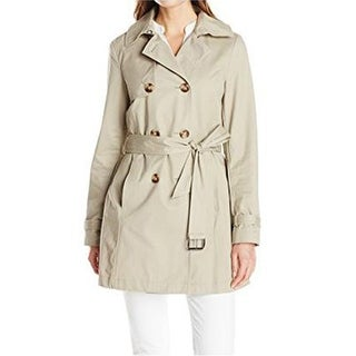 Link to T Tahari Women's Fit and Flare Trench with Eyelit Back, Taupe, X-Small Similar Items in Women's Outerwear