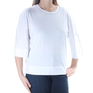 DKNY Womens White 3/4 Sleeve Jewel Neck Top  Size: L