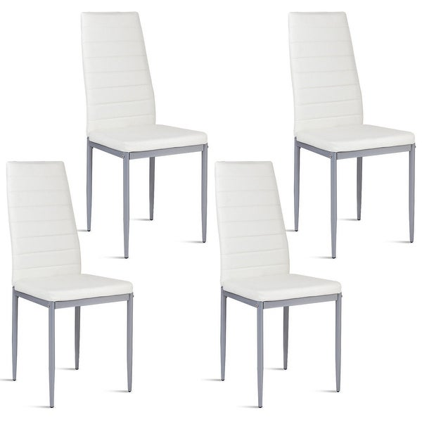 Shop Costway Set of 4 PU Leather Dining Side Chairs ...