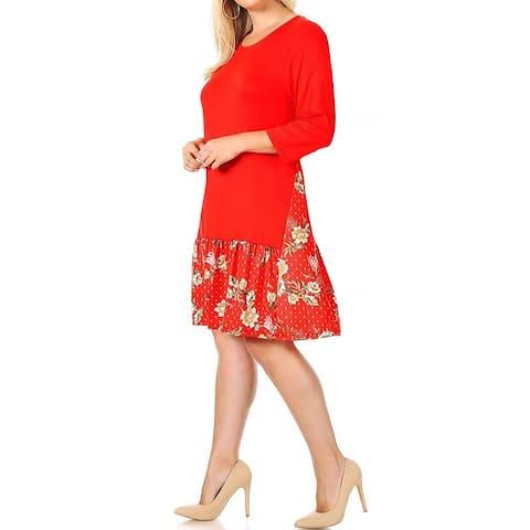 Funfash Women Plus Size Red White Bohemian Slimming Dress Made in USA