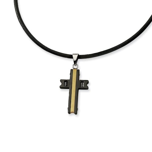 Chisel Stainless Steel Gold and Black Color IP-plated Cross Pendant Necklace (3 mm) - 18 in