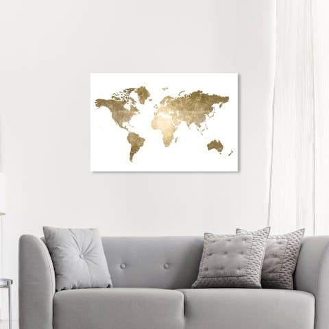 Oliver Gal 'Hipster Mapa Mundi Gold' Maps and Flags Wall Art Canvas Print World Maps - Gold, White