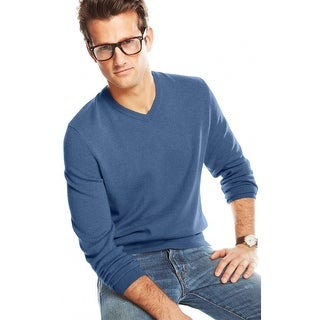 Club Room Estate Cashmere V-Neck Sweater Shark Eye Blue XX-Large - 2Xl