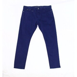 Calvin Klein NEW Blue Mens Size 38X32 Tapered Button-Closure Pants