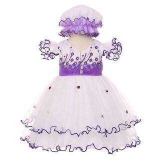 Baby Girls Purple Floral Embroidery Jewel Ruffle Bonnet Flower Girl Dress 3-24M