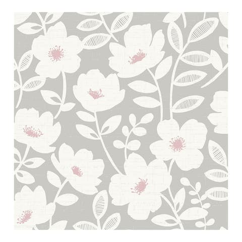 Bergman Pink Scandi Flower Wallpaper - 20.5 x 396 x 0.025