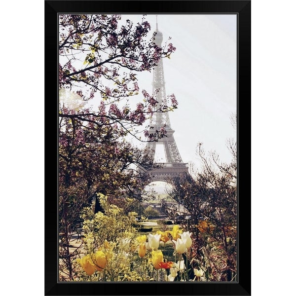 """Springtime in Paris. The Eiffel Tower framed by springtime tulips in yellow and white."" Black Framed Print"