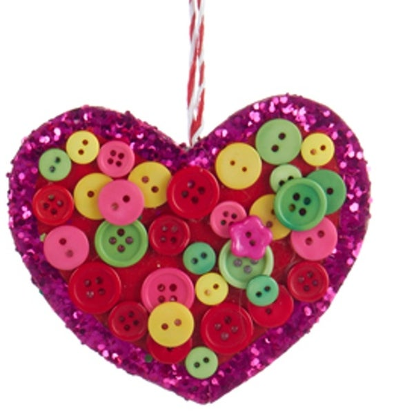 "4"" Bohemian Holiday Yellow, Green and Pink Glittered Heart with Buttons Christmas Ornament"