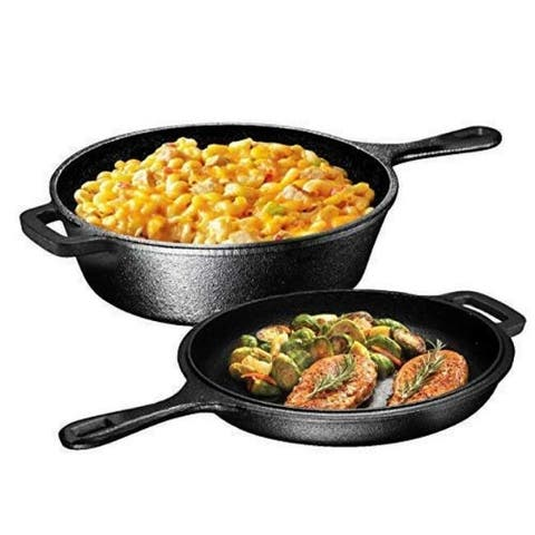 Pre-Seasoned 2-In-1 Cast Iron Multi-Cooker  Heavy Duty 3 Quart Dutch Oven Skillet and Lid Set, Non-Stick Kitchen Cookware,