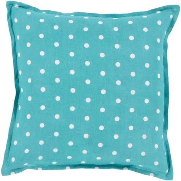 "20"" Teal Blue and White Polka Dot Daze Decorative Square Throw Pillow"