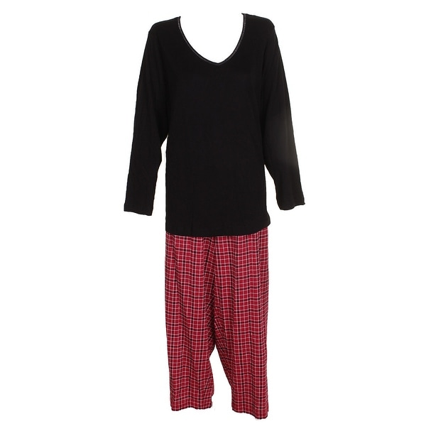 49eeb935c46be Charter Club Plus Size Black Red Lurex-Threaded Cotton Plaid Pajama Set 2X