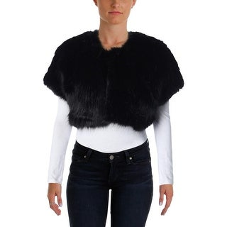 Parker Black Womens Faux Fur Open Front Jacket