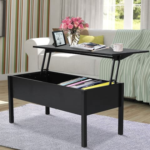 """HOMCOM 39"""" Modern Lift Top Coffee Table Desk With Hidden Storage Compartment for Living Room, Black Woodgrain"""