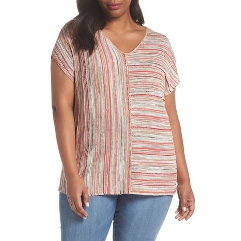 NIC+ZOE Beige Women's Size 2X Plus Deep V-Neck Stripe Knit Top