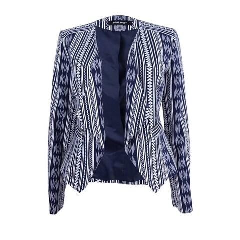 Nine West Women's Printed Wing-Collar Blazer - Navy/Ivory
