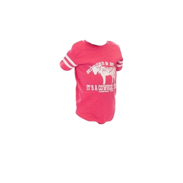 Cowgirl Tuff Western Shirt Girl One Piece Short Sleeve Infant Pink
