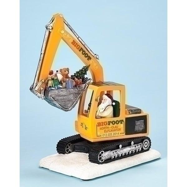 """10.75"""" Amusements Santa Claus in Retro Excavator Musical Christmas Figure"""