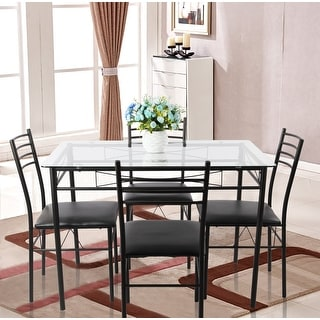 VECELO Glass Dining Table Set with 4 Nice Chairs Brown