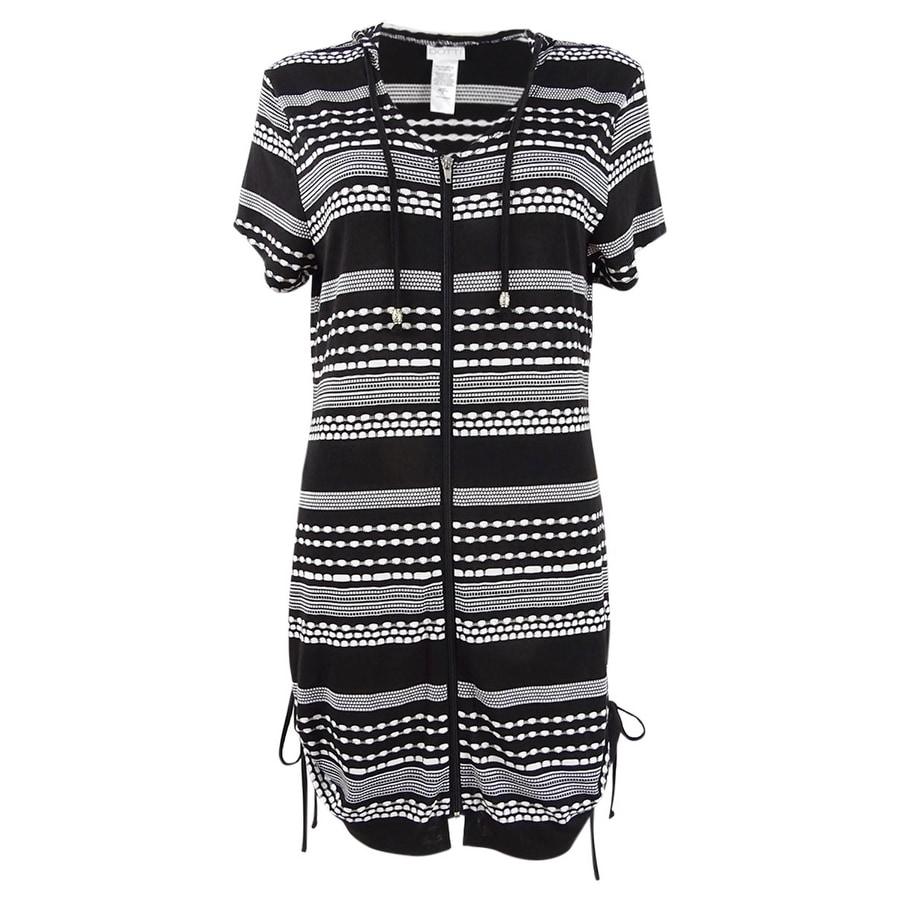 Dotti Womens Plus Ibiza Striped Hoodie Dress Swim Cover-Up - Black/White