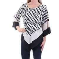 ALFANI Womens Black Geometric Dolman Sleeve Jewel Neck Top  Size: 2
