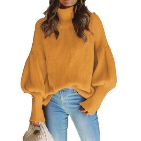 Women's Sweater Casual Long Sleeve Loose Pullover Knit Sweater Jumper Top