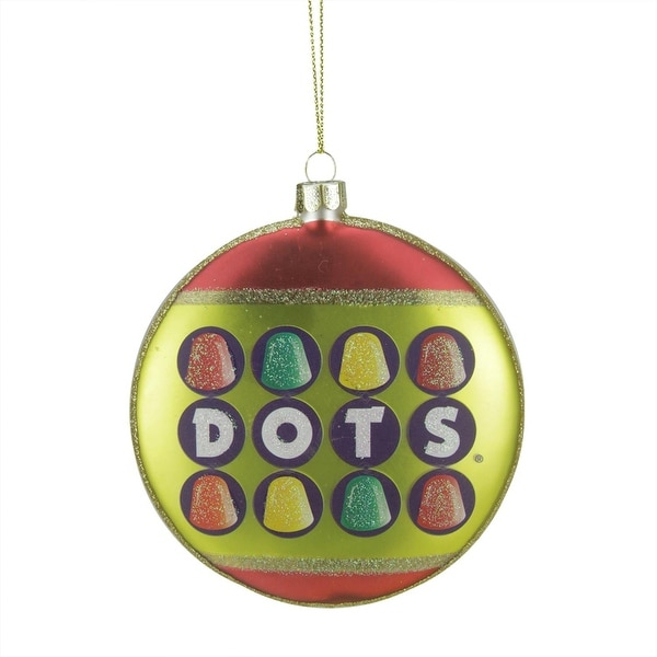 "4"" Candy Lane Tootsie Roll Dots Original Gumdrop Candies Christmas Disc Ornament - green"
