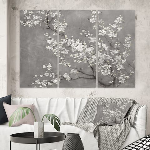 Designart 'White Cherry Blossoms II' Traditional Canvas Artwork
